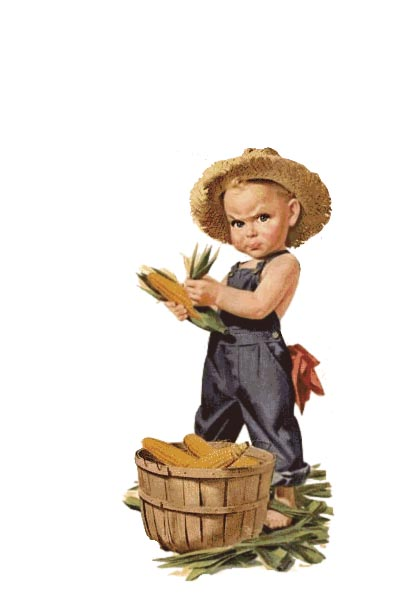 Vintage Graphic - Boy with a Bushel of Corn