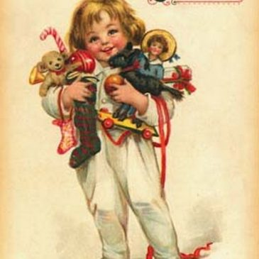 Victorian Child with Toys graphic