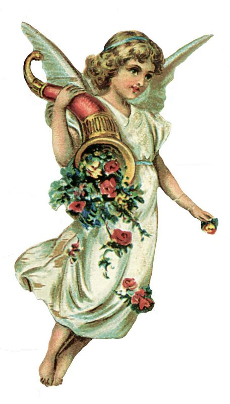 Victorian Angel with Horn Graphic