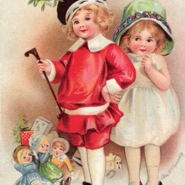 Victorian Girls Christmas Greeting