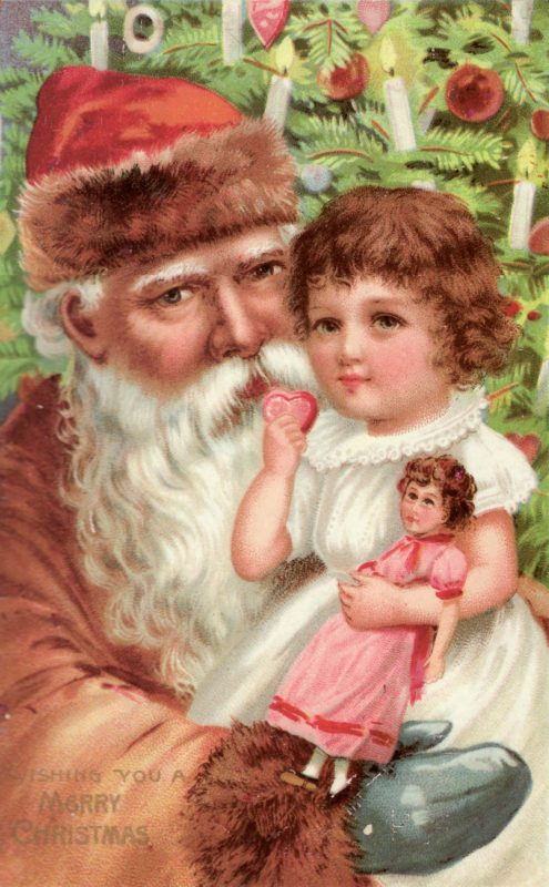 Victorian Santa with Little Girl graphic - Lucky Palm Graphics
