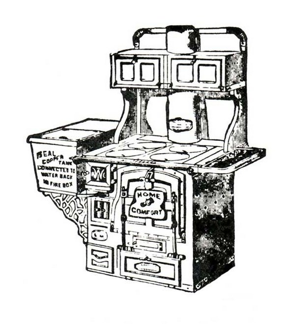 Antique Cook Stove Graphic Clip Art