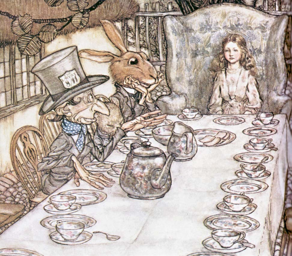 The classic illustration by Arthur Rackham from the book Alice in ...