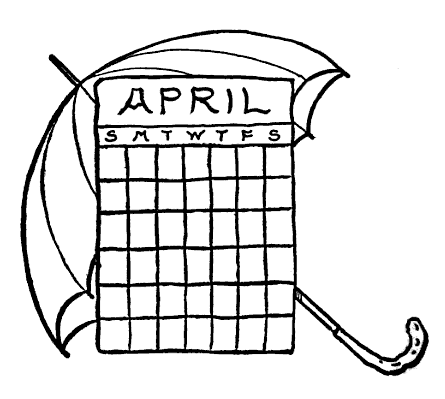 April Calendar Umbrella Graphic Clip Art