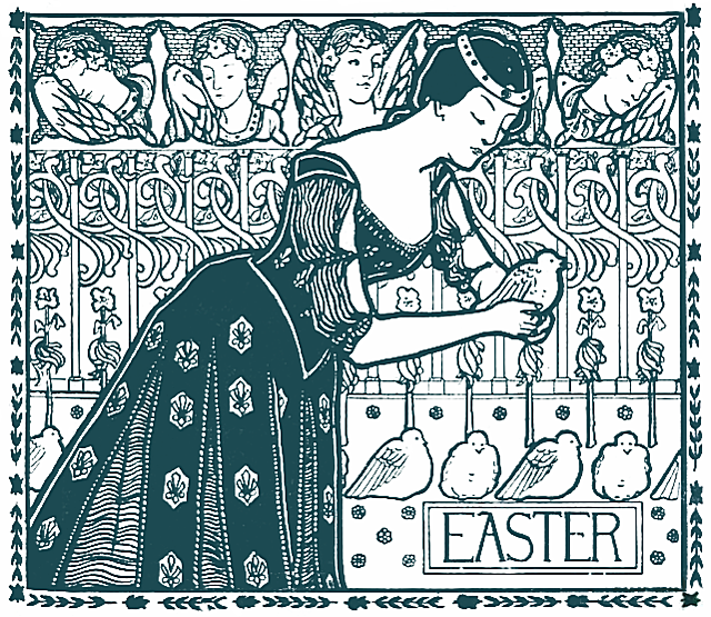 Easter Woodblock Graphic and Greeting Card