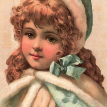 Victorian Girl Graphic Wearing a Fur Hat