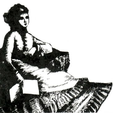 Victorian Woman With a Book Graphic