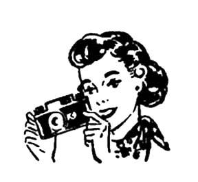 Woman with a Camera Vintage Graphic