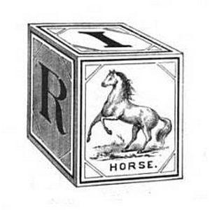 vintage horse alphabet baby block